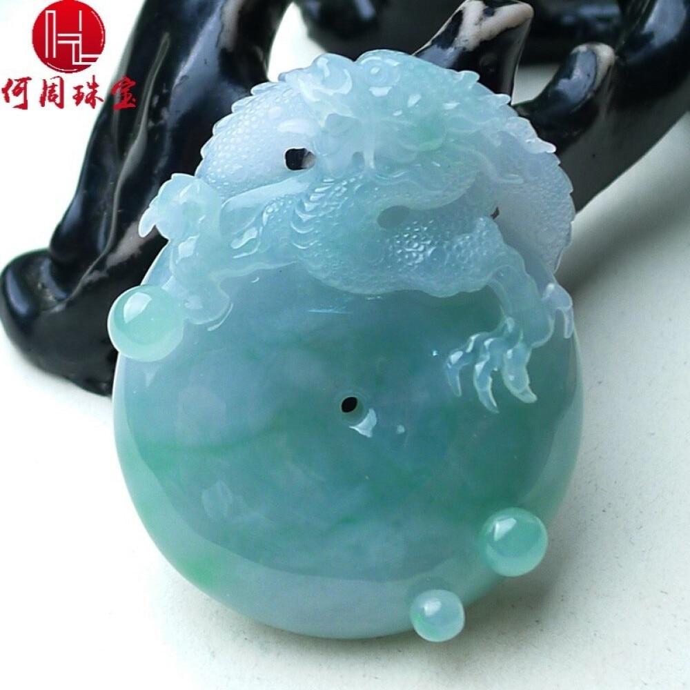 Hezhou jewelry!Myanmar natural jade!Exquisite hand carving!Dragon pendant!Exquisite workmanship! 49.67g 2