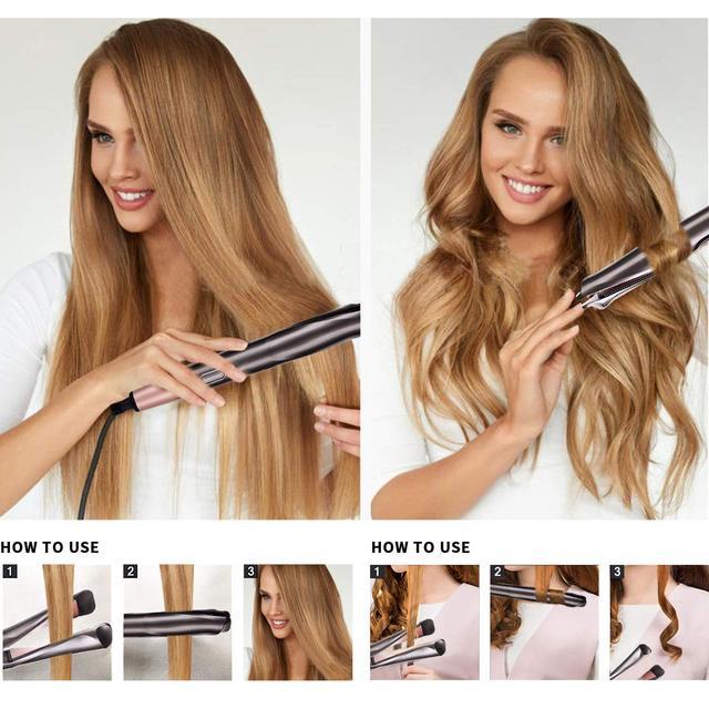 Hair Straightener Curling Iron 2 in 1 Tourmaline Ceramic Twisted Flat Iron Twist Straightening Irons S6606 Perming&Straight 6