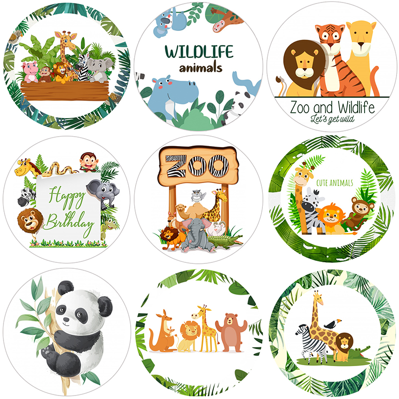Jungle Animal Supplies Stickers Happy Birthday Party Decor Gift Box Label Packing Kids Boy Forest Jungle Safari Party Decor