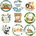 Товары с животными джунглей, наклейки на день рождения, декор для вечеринки, Подарочная коробка, ярлык, упаковка для детей, мальчиков, леса, д...