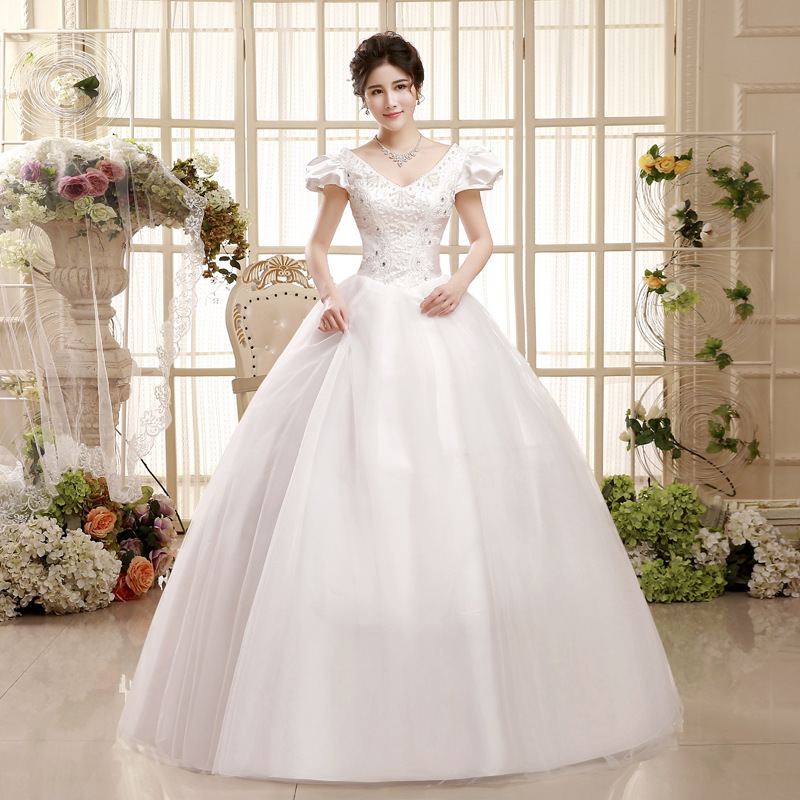 2020 Vestido Cocktail Xia Deep V-neck Shoulders Lace Hubble-bubble Sleeve Korean Wedding Dress Show Thin Strap Of Big Yards