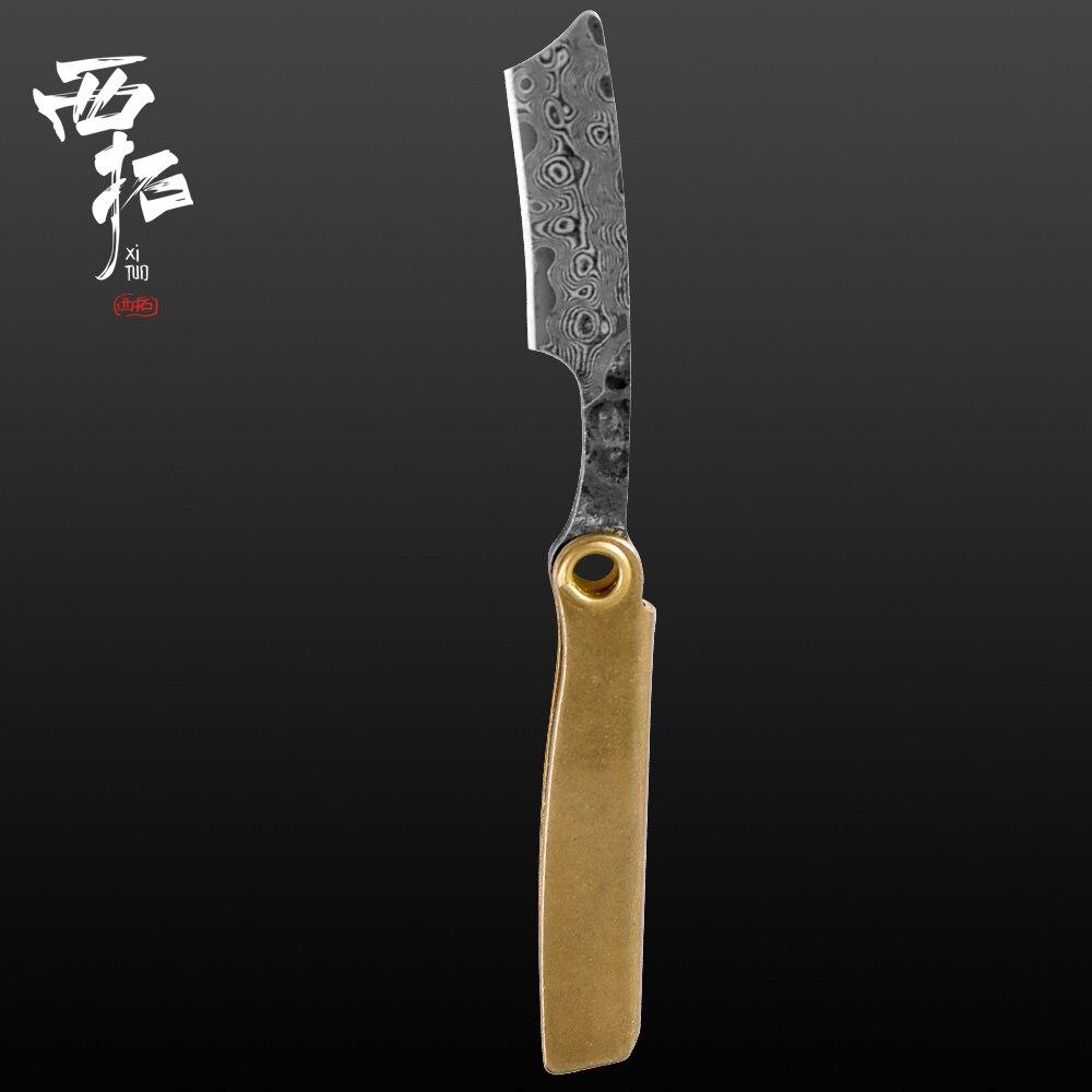 Damascus Steel Razor Mini Folding Knife Keychain Pocket Knife Handmade Outdoor Camping Knife Letter Opener Portable EDC Tool