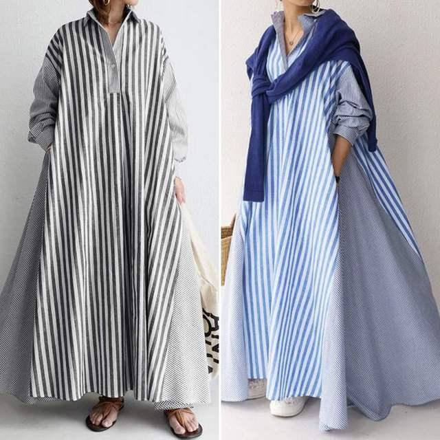 wonderful maxi dress, stripes, long sleeves, pockets and comfort 1