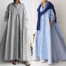 Elegant Lapel Robe Women's Autumn Sundress ZANZEA 2021 Casual Long Sleeve Maxi Vestidos Female Striped Shirt Dress Plus Size 5XL