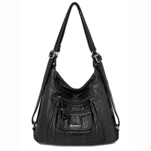Washed Soft PU Leather Shoulder Bag Brand High Quality Black Handbag Large capacity Solid classic Leisure for Women Female