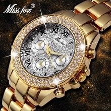 MISSFOX אופנה נשים שעונים קוורץ 2020 פלדת אבזם עמיד למים למעלה מותג יוקרה 18K זהב גבירותיי יד שעונים עבור בנות מתנה