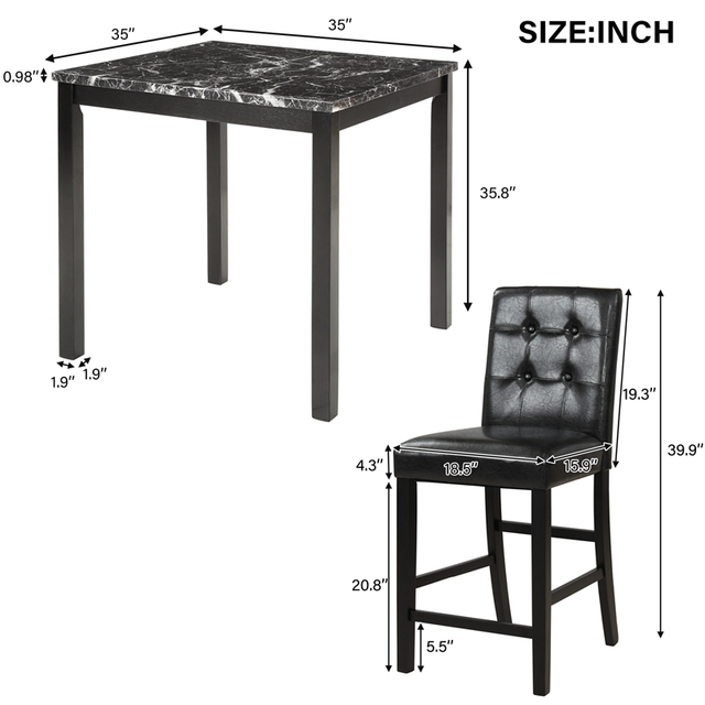5 Piece Dining Room Set with Laminated Faux Marble Top 6