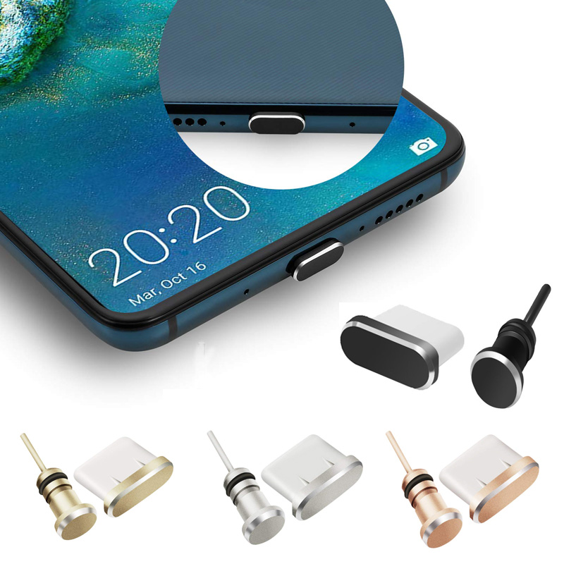 Type C Phone Dust Plug Set USB Type-C Port And 3.5mm Earphone Jack Plug For Samsung Galaxy S8 S9 Plus For Huawei P10 P20 Lite