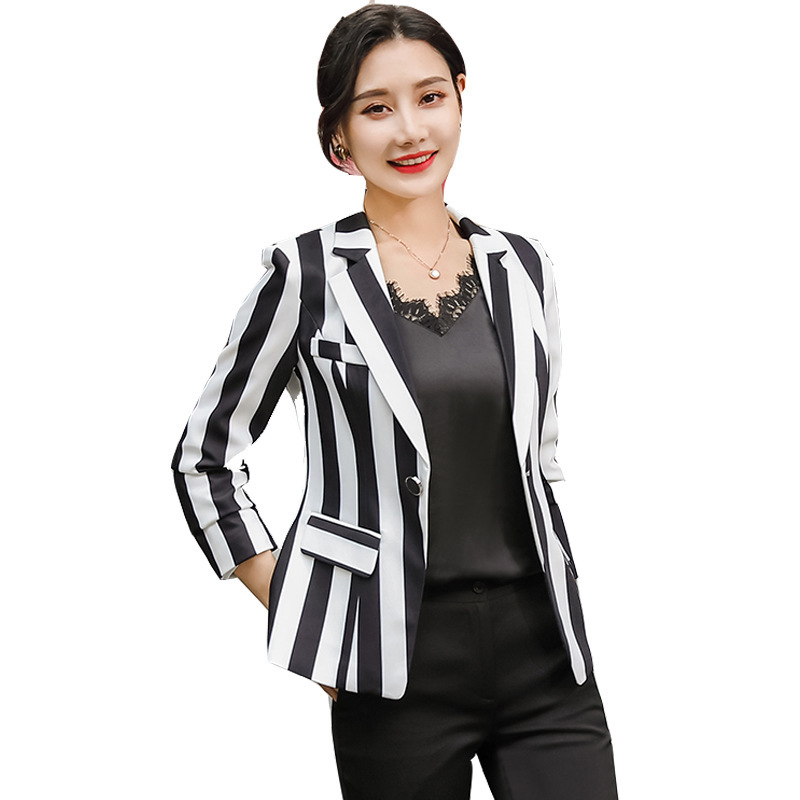 Plus Size 3XL Women Autumn Spring Single Breasted Casual Coat Blazers Black And White Striped Notched Collar Blazer Outerwear