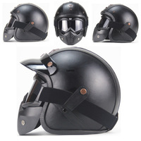 Retro Helmet Handmade Personality ABS Leather Helmet MotorcycleChopper Bicycle 3/4 Leather Helmet and Goggles Mask