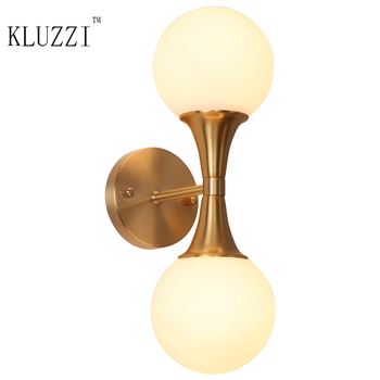 Nordic style glass ball wall lamp copper bedside wall light bathroom LED lamp flexible wall lights dressing mirror wall lamp