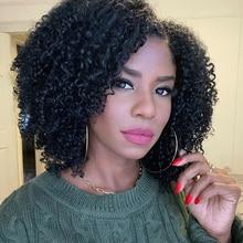 U-часть парик Курчавые Кудрявые человеческие волосы парик 150 180 Плотность средняя часть предварительно сорванные бразильские Remy человеческие волосы парики для женщин WoWEbony