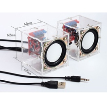 1 زوج لتقوم بها بنفسك 3 واط صندوق مكبر إلكتروني القرن إنتاج عدة مع قذيفة شفافة 2.36 بوصة كمبيوتر مصغر إلكترونيات الصوت لتقوم بها بنفسك عدة