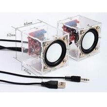 1 זוג DIY 3W אלקטרוני רמקול תיבת צופר ייצור ערכת עם שקוף פגז 2.36 אינץ מיני מחשב אודיו אלקטרוניקה DIY ערכה