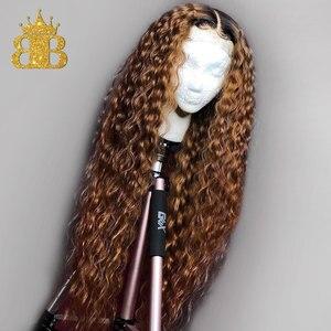 Image 4 - Colorido ombre peruca de cabelo humano 13x4 natural encaracolado frente do laço perucas de cabelo humano para as mulheres preto remy cabelo brasileiro babador