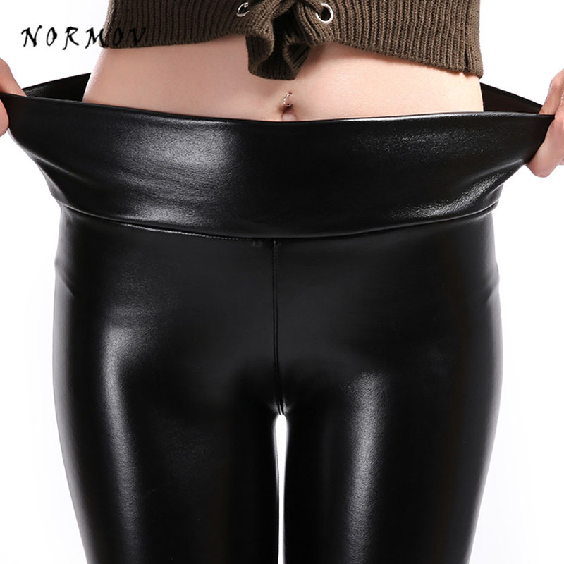 NORMOV Women Sexy Leather Leggings High Waist Skinny Plus Velvet Warm Elastic Leggings Autumn Winter Female Plus Size Leggings