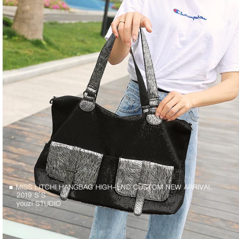 Große Kapazität Leder Taschen für Frauen Reise Messenger Taschen Große Tote Handtasche Reisetasche - 4