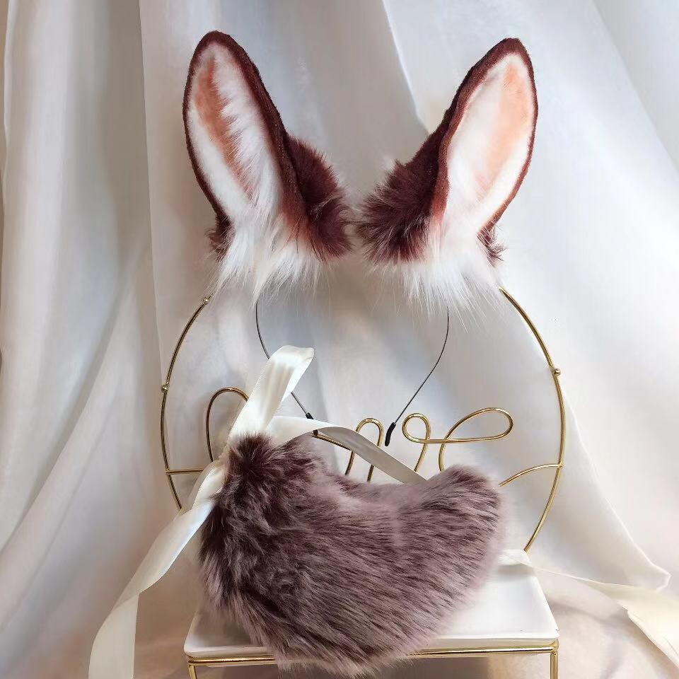 New Brown Rabbit Anime Beast Ear Beast Tail Wolf Ear Cat Ear Fox Ear Headband Custom COSPLAY