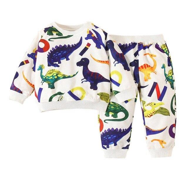Children's Clothing Dinosaur Baby Boy Clothes Set Tracksuit Children Cartoon Sweatshirt Top+Sport Pant Suit Kids Outfit