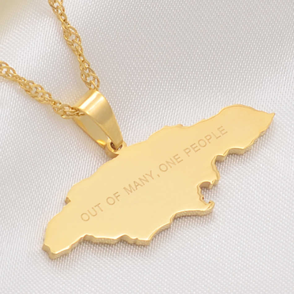 Anniyo Map of Jamaica With OUT OF MANY, ONE PEOPLE Pendant Necklaces Stainless Steel Jamaica Maps Chains Jewelry Gifts #112821