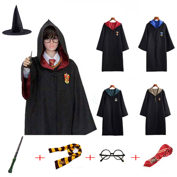 Potter Robe Cloak Cape Cosplay Costume Children Adult Kids Cosplay Clothes Scarf Tie Shirt Wand Halloween Gift Potter Clothing star wars jedi cloak cosplay costumes adult men hooded robe cloak cape costume halloween christmas dresswith