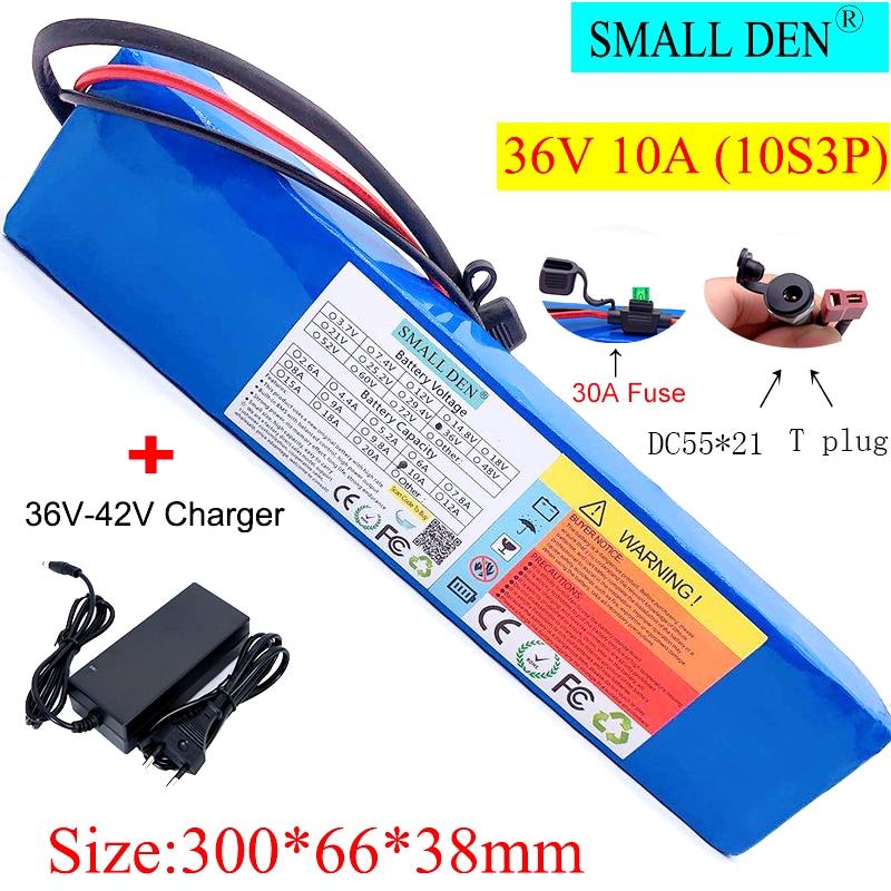 36V литиевая аккумуляторная батарея + 42V2A DC55 * 21 зарядное устройство для скутеров, электрических велосипедов, встроенный 30A BMS и устройство-пре...