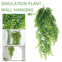 Artificial Plastic Persian Fern Tree Leaves Green Simulation Plant Fake Rattan Garden Wedding Decoration