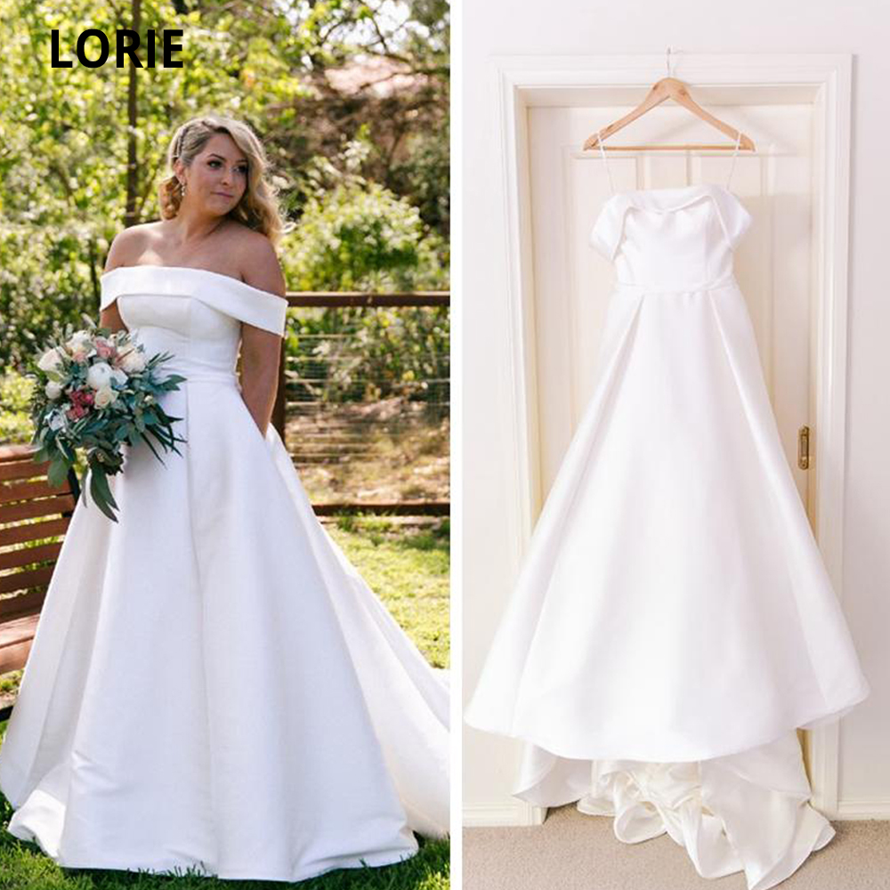 LORIE Simple Wedding Dresses Satin 2020 Off The Shoulder Boat-Neck Beach Bridal Gown With Pocket Plus Size Elegant Wedding Gown