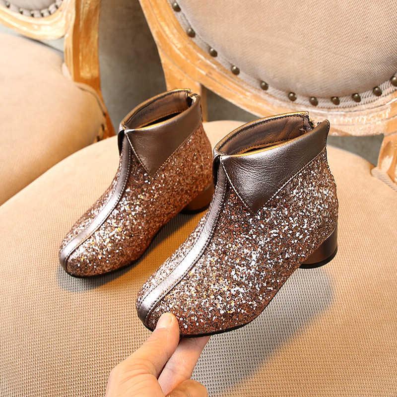 CNFSNJ חדש לגמרי ילדי סניקרס 2019 חורף סתיו מקרית נצנצים בנות אופנה מגפי עור אמיתי נעלי ילדים 26-37