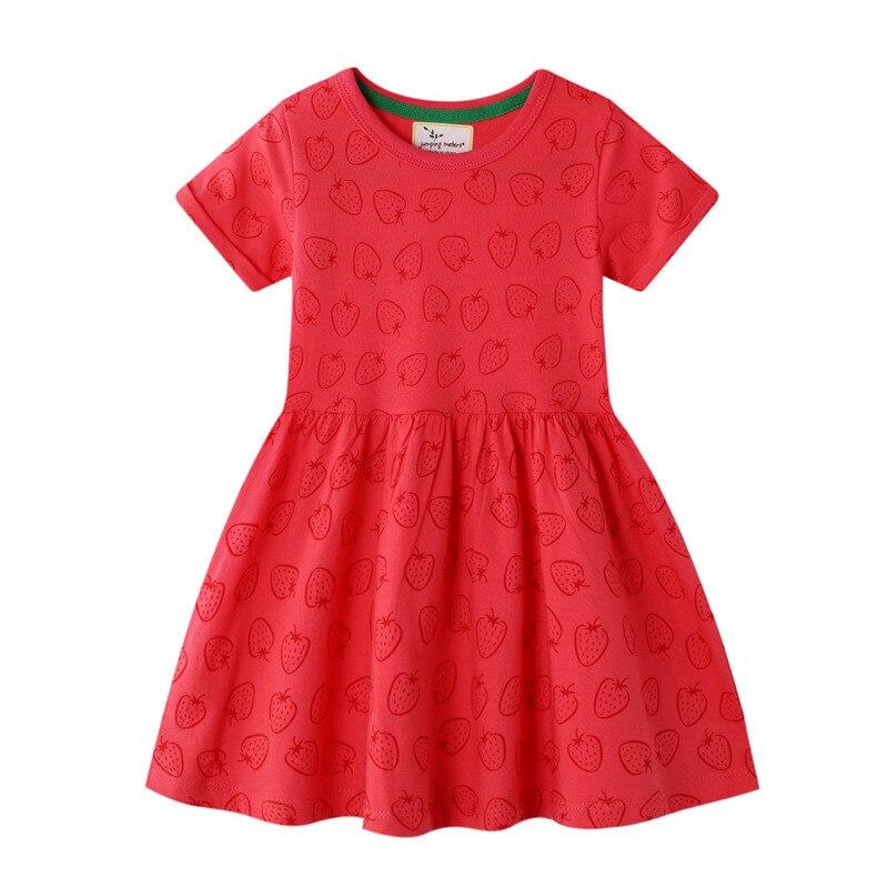 Jumping Meters Baby Girls Dress Summer Party Princess  Strawberry Children's Clothing Tutu Cute Hot Designs Kids Girls Dress