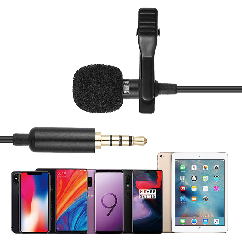 3.5 mm 1.45m Mini Portable Microphone Condenser Clip-on Lapel Micro Wired Mikrofo/microfon For Phone For Laptop Huawei Samsung - ANKUX Tech Co., Ltd