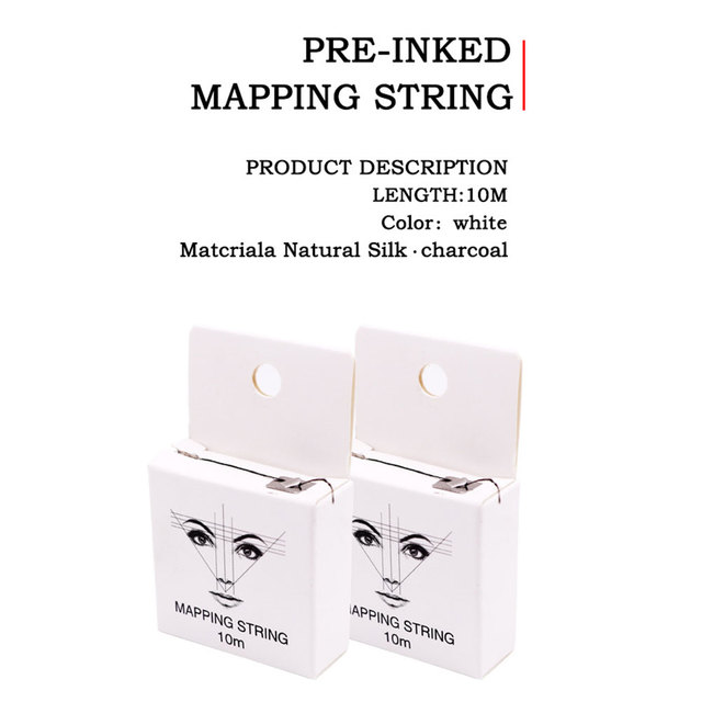 10m 2pcs Tattoo Supplies Positioning Thread Pre Inked Mapping String Line Tool Brows Point Measuring Portable Eyebrow Marker 3