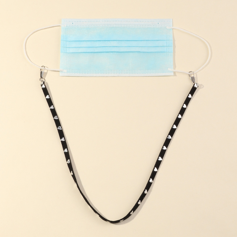 Punk Heart Crystal Leather Necklace Mask Chain Anti-lost Face Cover Lanyard Eyeglasses Strap Holder Women Kid Cord Neck