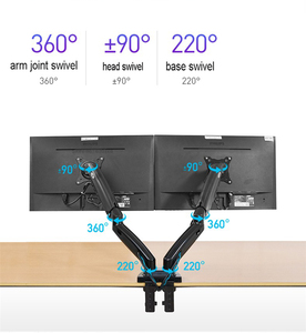 "Image 5 - 2020 New NB F160 Gas Spring 360 Degree Desktop 17"" 27"" Dual Monitor Holder Arm Full Motion Monitor Mount Bracket Load 2 9kg each"