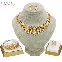 Nigeria Jewelry for Women Classic Wedding Jewelry Sets for Bride Necklace Earrings Ring Bracelet 4 Piece Set Women Jewelry Set