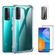 Etui na telefon Huawei P Smart 2021 etui na ekran folia szklana miękki silikonowy pokrowiec Huawei PSmart 2020 2021 przezroczyste etui