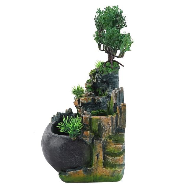 1PC Mini Desktop Fountain Waterfall Small Rockery Feng Shui Wheel Greenery Home Decoration Humidifier Desk Decoration Gifts 4
