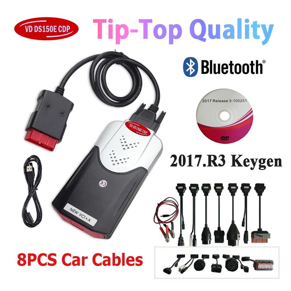 Новое поступление 2017.R3 Keygen vd ds150e cdp Bluetooth OBD2 Авто диагностические инструменты интерфейса диагностики кабель для белобочка Led 3in1
