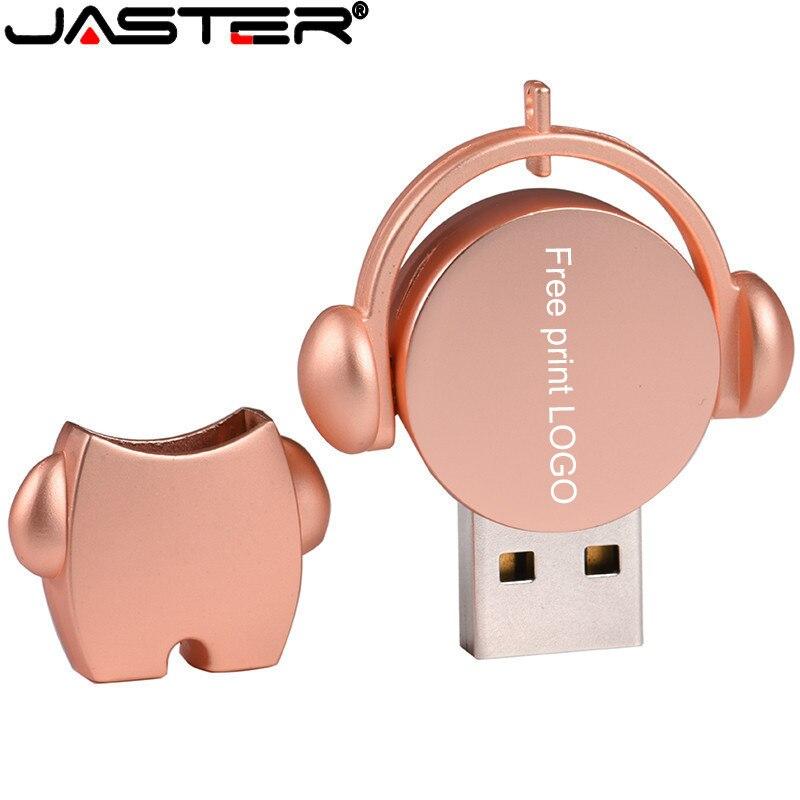 JASTER 1PCS Free Custom Logo Cute Metal Cartoon 128GB Music Man USB Flash Drive 64GB 32GB Pen   Memory Stick U Disk