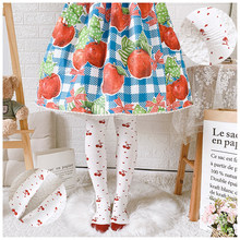 Autumn Small Cherry Lolita Socks Autumn And Winter Knee Socks Thick Combed Cotton Socks Lolita Japanese-style Slimming Legging(China)