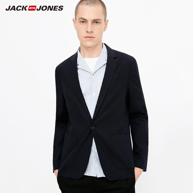 JackJones Men's Business-casual Cotton & Linen Thin Suit Jacket Basic Blazer 218308506