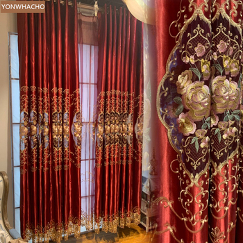 Custom curtains High-grade Nordic red embroidered wedding room bedroom festive cloth blackout curtain tulle drape B913