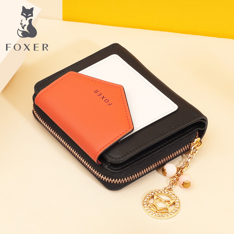 Foxer Women Split Leather Short Wallet Female Wallet Chic Mini Coin Pocket Luxury Money Purse Lady Card Holder For Girl 230017F