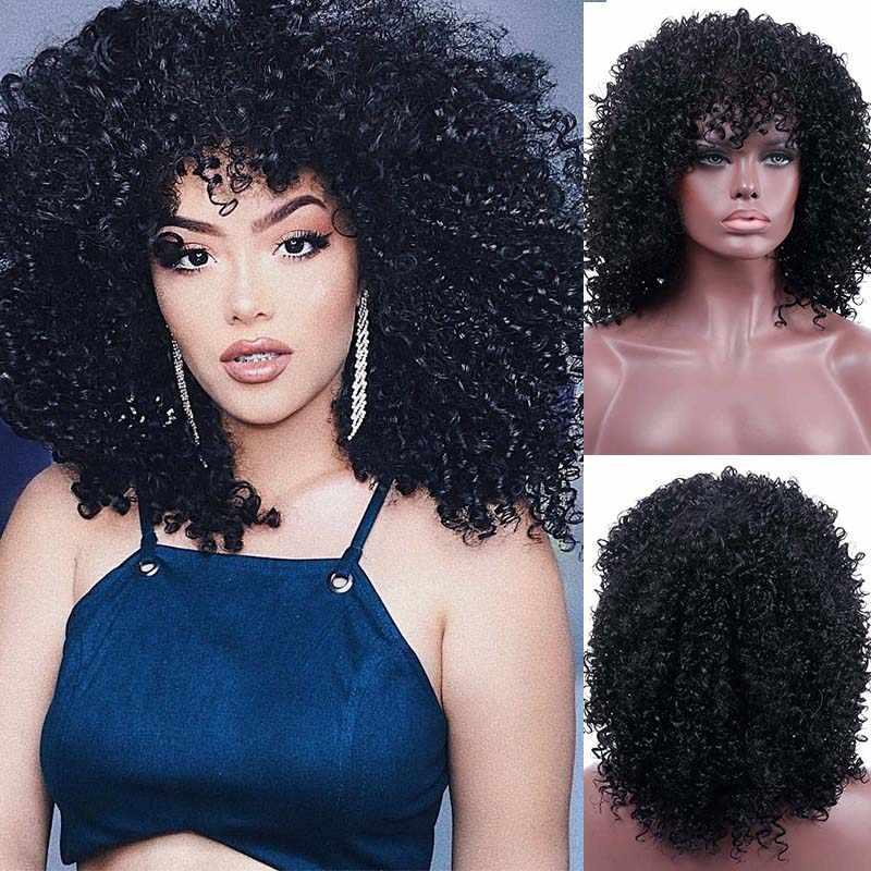 LUPU 14 pulgadas pelucas rizadas sintéticas Pelo Corto Afro fibra resistente al calor para mujeres negras