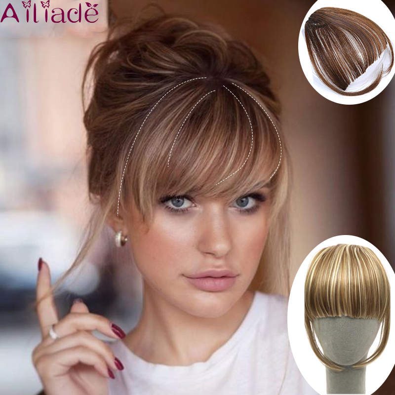 AILIADE Short Straight Front Neat Bangs Clip In Human Hair Extension Remy Clip-In Fringe Hair Bangs Brown Hair Accessories