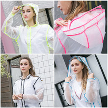 Transparent Rain Coat PVC Vinyl Waterproof Raincoat Outdoor Travel Runway Hooded Poncho Rain Coats Ladies Rainwear Dropshipping(China)