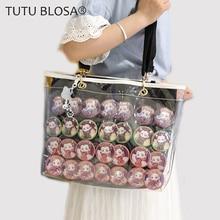 New Girls Double sided Decoration Ita Bag Shoulder Transparent Jelly Bags For Women With Adjustable Shoulder Strap Itabag H802