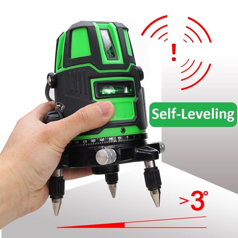 Tools : 2 3 5 Cross Lines Laser Level Self-Leveling 360 Rotatable Indoor Outdoor Green Radius Alternating Direct Horizontal Vertical