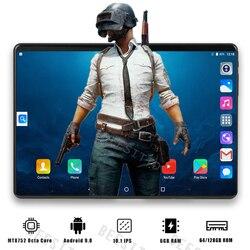 Neue 10 zoll 6G + 128GB Tablet PC Octa Core 6GB RAM 128GB ROM 3G 4G LTE IPS 2,5 D Gehärtetem Glas 10,1 Android 8,0 Tabletten Für Geschenke