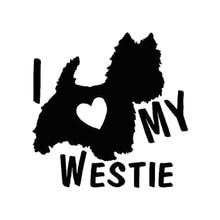 Car Sticker I LOVE MY WESTIE Terrier Dogs Automobiles Motorcycles Exterior Accessories Vinyl Decal,14cm*13.7cm car sticker adventure awaits sunset camping travel automobiles motorcycles exterior accessories pvc decal 14cm 12 8cm